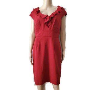 Sandra Darren Womens Red Ruffle Front Sheath Dress